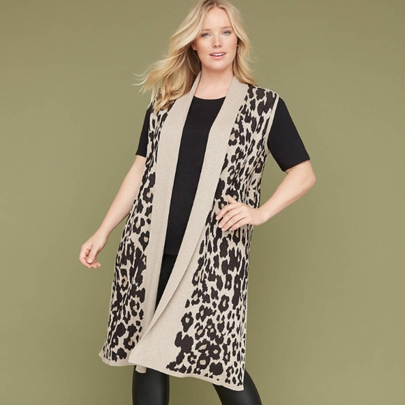 Lane Bryant Jackets & Blazers - Lane Bryant Leopard Jaquard Sweater vest duster